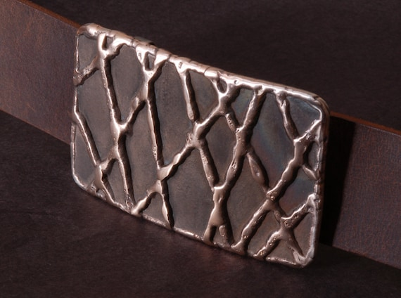 "Fish Net Bronze Belt Buckle Signed Original Hypoallergenic Accessories Stainless Steel fits 1-1/2"" Full Grain Buffalo Leather Belt for Jeans"