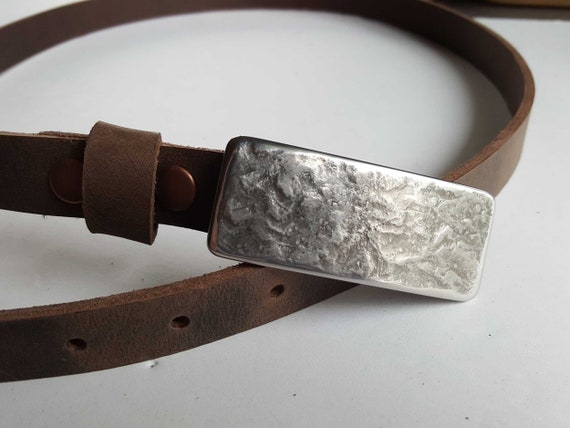 """Narrow Belt and Buckles, 7/8"""" INTERCHANGEABLE Belt & Hand Forged Buckle, Canadian Made, One of a Kind Gift, Belt has Snaps, Gift for Her"""