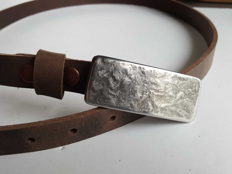 One of a Kind Gift 78 INTERCHANGEABLE Belt /& Hand Forged Buckle Canadian Made Gift for Her Narrow Belt and Buckles Belt has Snaps
