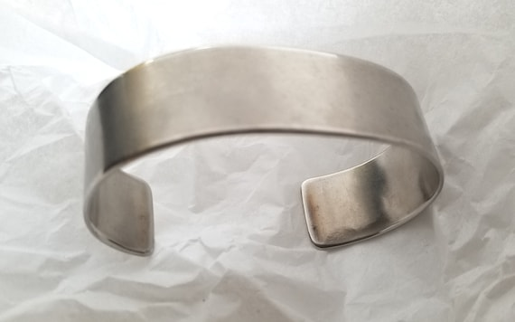 Silver Bracelet, Cuff ~ Hand Forged ~ Anvil Textured ~ Stainless Steel Anniversary Gift ~ Bridesmaid Gift ~ Signed Original ~ Gifts for Her