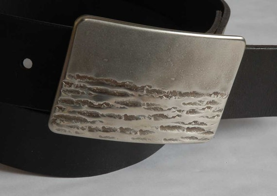 """Silver Hand Forged Canadian Landscape Belt Buckle Artisan Signed Original Stainless Steel Hypoallergenic Fits 1.5"""" Leather Belt for Jeans"""