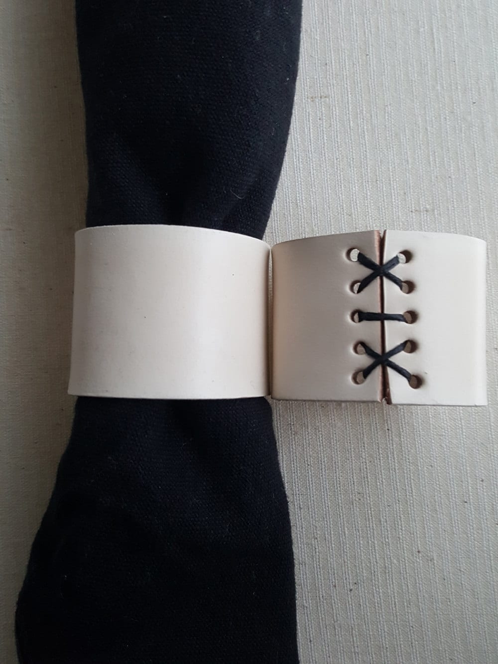 Black White Leather Napkin Rings Hand Stitched Lace Intimate Dining Dining Accessories Wedding Table Table Decor