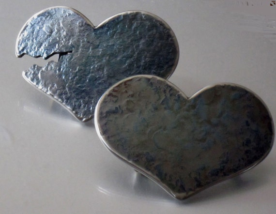 LOVE Heartbreaker Set of Two Blue Hearts Stainless Steel textured on Blacksmith's Anvil ~ Hypoallergenic ~ Signed Originals ~ For Blue Jeans
