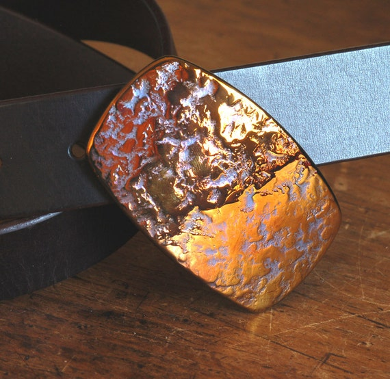 Harley Orange Gold Nugget Belt Buckle Unisex Hypoallergenic Accessories Canadian Hand Forged Original Made in Canada