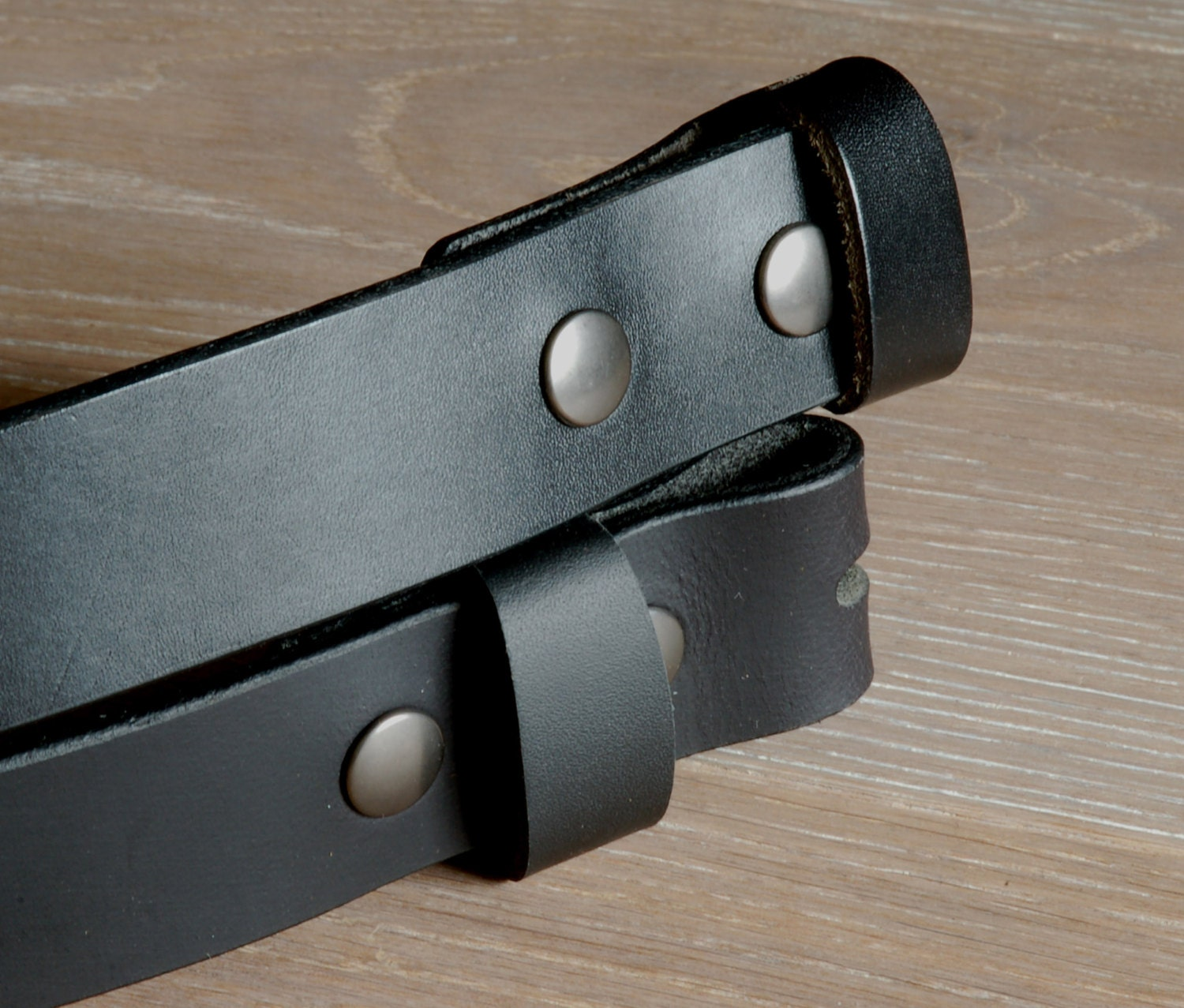 "2/"" Black Oiled Buffalo Leather Belt with Snaps Custom Cut For Your Waist Size"