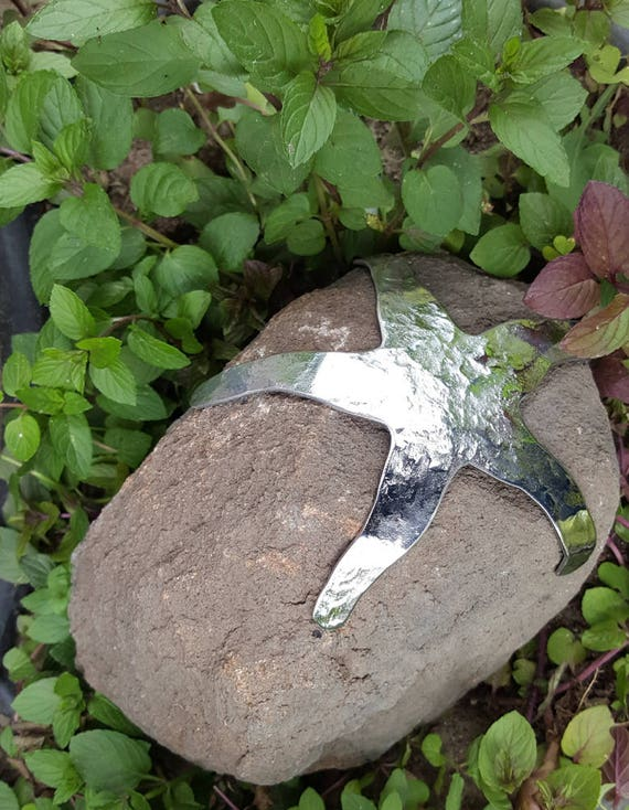 Canadian ROCK STAR ~ Garden Decor ~ Door Stop ~ Rock & Hand Forged Stainless Steel Starfish ~ Beach Rock Door Stopper ~ Garden Sculpture