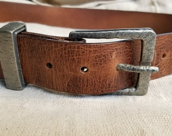 """Distressed Leather Belt with Buckle & Keeper, 1-1/2"""" Wide Belt for Jeans,  Will Custom Cut Belt for Your Waist Size, Choose from 5 Colours"""