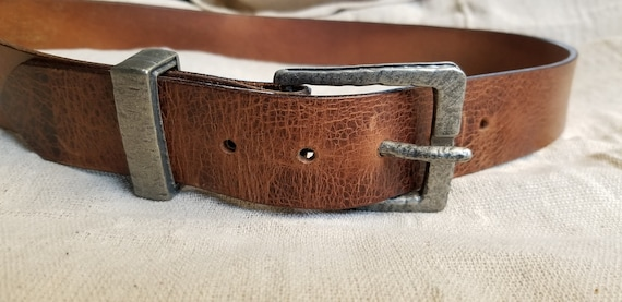 """Leather Belt with Buckle and Keeper, 1-1/2"""" wide Belt for Jeans, Will Custom Cut Belt for Your Waist Size, Choose from 5 Leather Colours"""