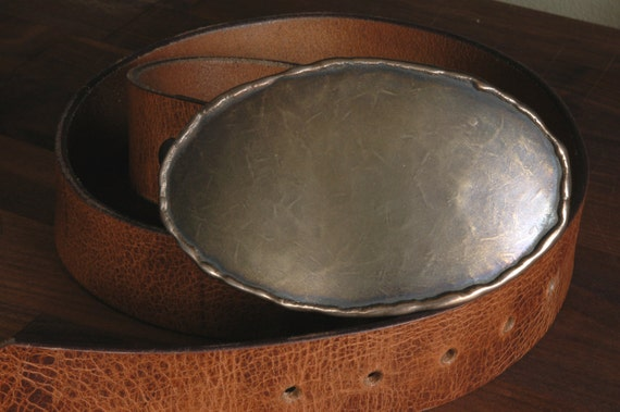 """HUGE Belt Buckle Bronze Texas Rodeo Oval Made in Canada Calgary Stampede Hand Forged-Signed Stainless Steel Buckle For 1-1/2"""" Blue Jean Belt"""