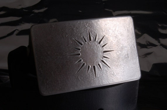 "Silver SUN Belt Buckle Hand Forged Hypo Allergenic Accessories Stainless Steel Signed Original Men's Women's fits 1-1/2"" Belt for Blue Jeans"