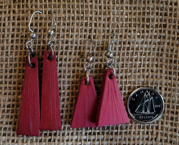 Red Leather Earrings ~ Silver Shepherd Hooks ~ Lightweight ~ Hand Dyed Earring Set ~ Leather Jewelry & Burlap Storage Bag ~ Perfect Gift