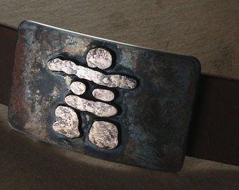 """Belt & Buckle Set- Inuit Art -Rustic Bronze Inukshuk - Hand Made in Canada - Hand Forged Belt Buckle with Leather 1.5"""" Belt for Blue Jeans"""