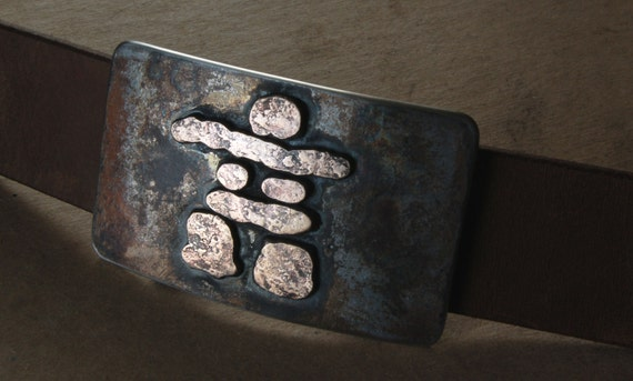 "Inuit Art ~ Inuksuk Belt Buckle ~ Hand Forged Rustic Bronze Inukshuk ~ Stainless Steel Signed Original Belt Buckle for 1.5"" Belt for Jeans"