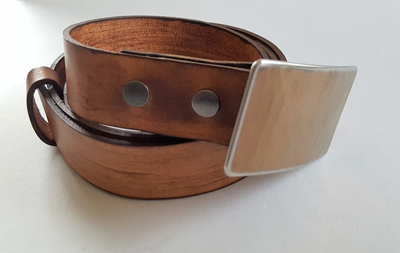 Handcrafted Belt & Buckle SET Hand Forged Belt Buckle w/ Hand Dyed Leather Woodgrain Snap Belt Accessories For Men's Ladies Jeans, Chinos