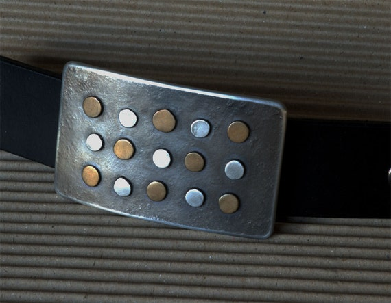 "Belt Buckle Unisex Bronze & Stainless Steel Accessories Polka Dot Buckle Signed Original Canadian Made Buckle Fits 1.5"" Belt for Blue Jeans"