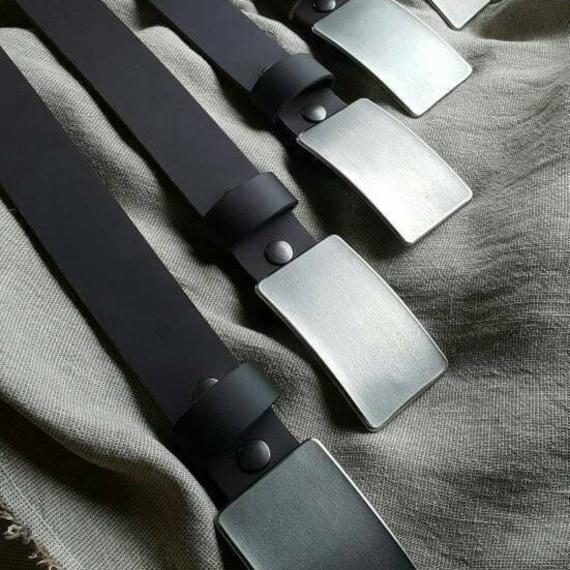 "Belt & Buckle, Gentlemen's Gift, Stainless Steel Anniversar, Dad Belt Buckle, Hypoallergenic Accessory, Guy Gift, 1-1/2"" Wide Leather Belt"