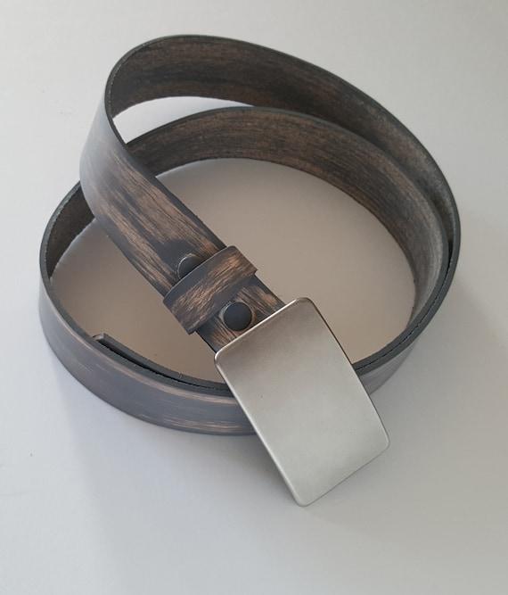 Belt & Buckle Set - Barn Board Leather Belt  Hand Forged Buckle SET Authentic Canadian Gifts Boyfriend Gift Girlfriend Gift Jean Accessories