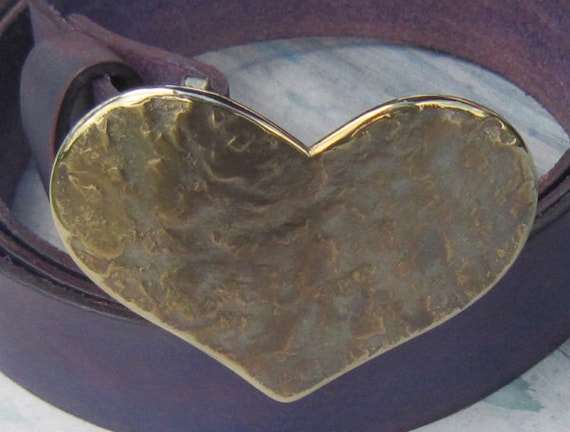 "Heart Belt Buckle ~ Signed Original Hand Forged Hypoallergenic Stainless Steel Valentine's Buckle Fits 1.5"" Belt for Blue Sweetheart Jeans"