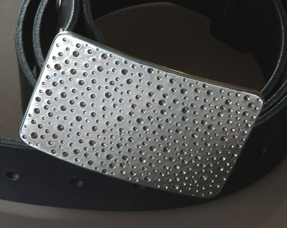 "Silver RAIN Belt Buckle Stainless Steel Hypoallergenic DOTS Hand Forged Polka Dot for 1.5"" Belt for Blue Jeans Design / Signed Robert Aucoin"