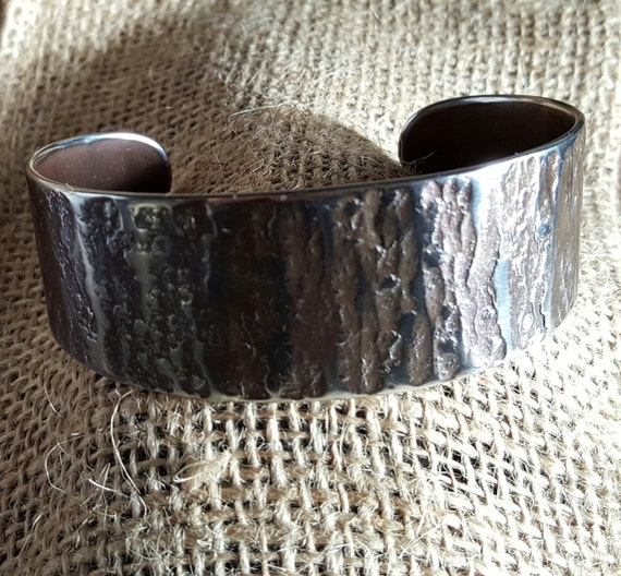 Unisex Silver CUFF Bracelet Hypo Allergenic Hand Forged Rugged Woodgrain Textured Stainless Steel Signed Original by Robert Aucoin, Iron Art