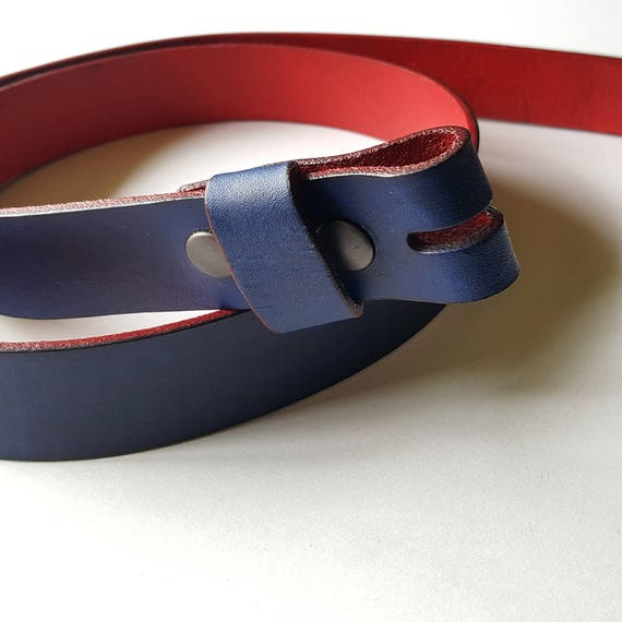 "Blue and Red Leather Snap Belt 1-1/4"" or 1-1/2"" Hand Dyed Interchangeable Leather Belt Custom Cut Belt for Suit, Jean, Chinos Belt w/snaps"