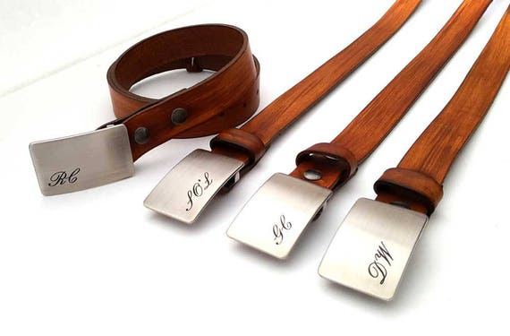 Belt and Buckle ~ Groom & Groomsmen's Gift ~ Monogrammed Buckle and Belt ~ Personalized Gifts for Groomsmen ~Men's Keepsake ~ Boyfriend Gift