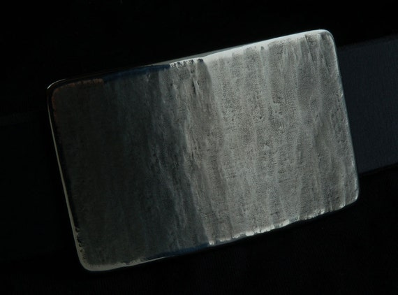 """Men's Silver Woodgrain Belt Buckle Signed Unisex HypoAllergenic Accessories Stainless Steel Buckle Fits 1.5"""" Belt for Blue Jeans or Chinos"""
