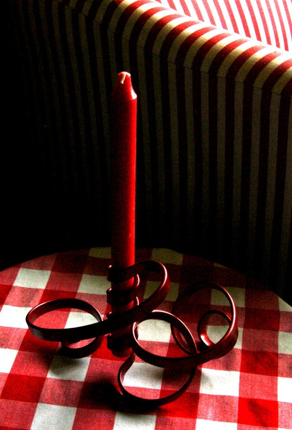 Artisan Metal Candleholder Handcrafted Freeform Red Ribbon Five Feet of Metal Hand Twisted Flowing Red Candle Holder Canadian Artist Aucoin
