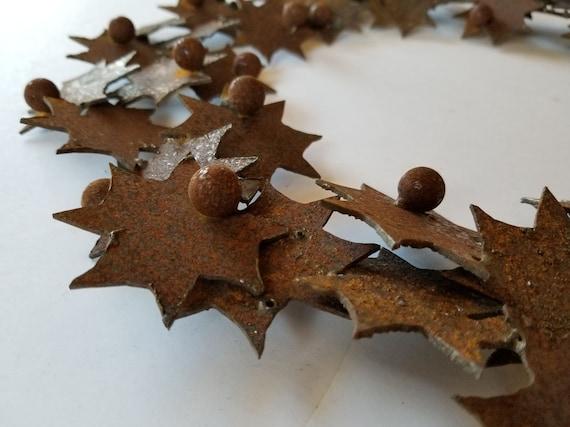 Metal Wreath, Holiday Wreath with Stars & Balls, Rustic Wreath, Holiday Door Decor, Canadian Fall Wreath, DIY Wreath, Metal Wreath for Door