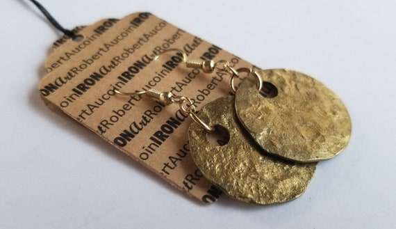 Earrings, Hammered Ancient Gold Earrings, Hand Forged, Lightweight Gold Earrings & Bag, Gal Gifts, Stocking Stuffers for Mom, Gold Gifts