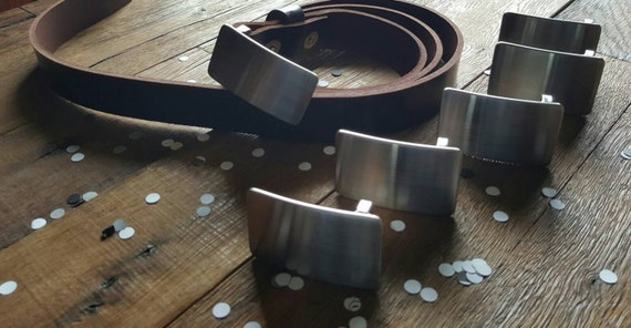 "Wedding Party Belt N Buckle SET Brushed Stainless Steel Hypoallergenic Belt Buckle & Mahogany Leather Belt 1.25"" Wide with Snaps Custom Cut"