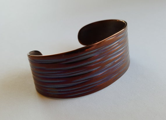 Wrist Cuff Bracelet, Multicolored, Hand Forged, Hypoallergenic Unisex Gifts, Stainless Steel Cuff, Signed Original by Aucoin with Gift Bag