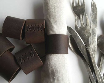 Napkin Rings, Dark Brown Leather, Rustic Home Decor Gift, Wedding Accessories, Casual Dining , Alfresco, Hostess Gift, Housewarming Gift