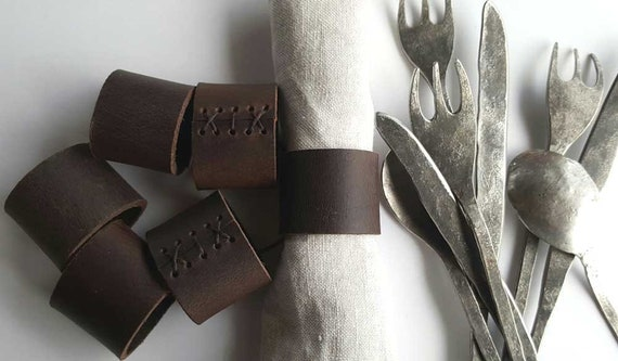 Leather Napkin Rings, Dark Brown, Rustic Home Decor, Wedding Accessories, Casual Dining, Alfresco, Hostess Gift, Housewarming Gift,  Wedding