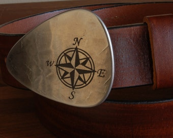 """Belt Buckle Nautical Compass Belt Buckle Canadian True North Guitar Pick Buckle Hypoallergenic Accessories Fits 1.5"""" Leather Belt for Jeans"""