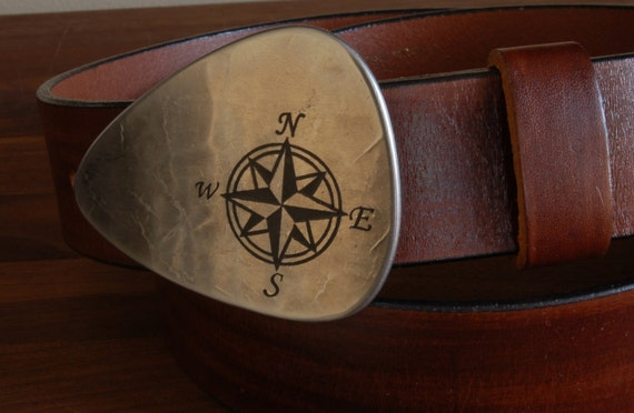 "Belt Buckle Nautical Compass Belt Buckle Canadian True North Guitar Pick Buckle Hypoallergenic Accessories Fits 1.5"" Leather Belt for Jeans"