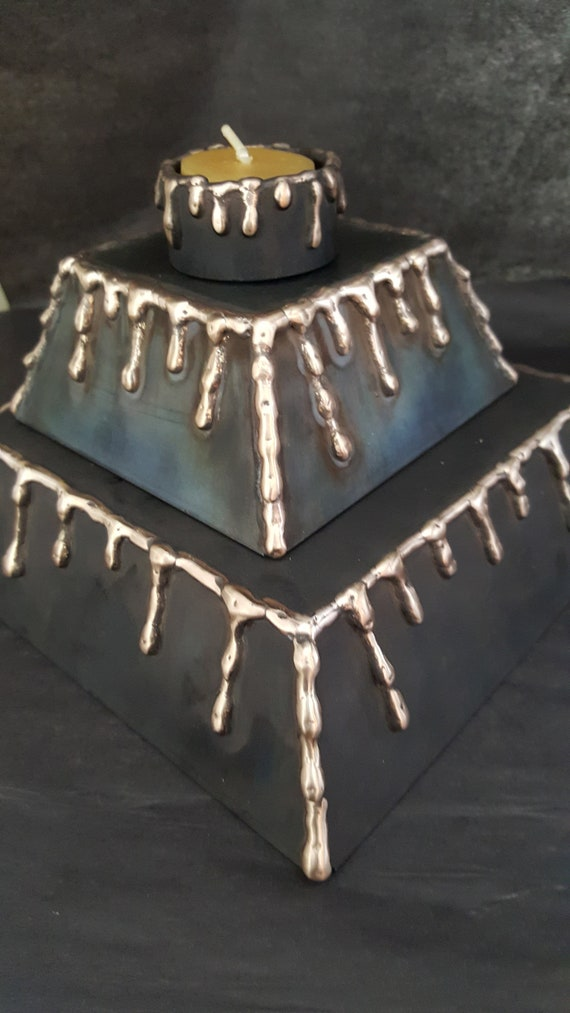 Display Stand, Bronze & Black  Metal Pedistal, Candle Holder Display, Jewelry Display, Candle Display, Mantle Centerpiece, Bronze Drizzle