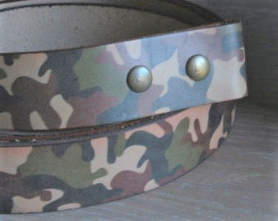 "Camouflage Belt w/ Snaps, Hunting Gear, Leather Belt, Custom Cut Black, Dark Brown, Fawn Brown, 1-1/2"" Wide, Father's Day Gift, Hunting Gear"