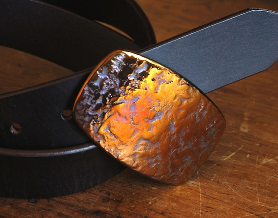 "Orange Gold Belt Buckle Unisex Hypoallergenic Accessories Harley Orange Canadian Hand Forged Original Buckle Made in Canada Fits 1-1/2"" Belt"