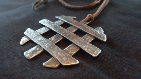 Asian Flair, Pendant Necklace, Hand Forged Statement Piece, Stainless Steel Anniversary, Leather Strap with Single Knot Ties It All Together