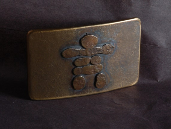 """Canadian Inuit Art Inukshuk Belt Buckle Hand Forged Stainless Steel ~ Corporate Gifts~ Hypoallergenic ~ Canadian Made Gifts for 1.5"""" Belt"""