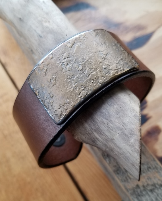Unisex Leather & Metal Wrist Cuff, Choice of Leather Colors w snaps, Hand Forged Stainless Steel Gold or Silver Plate, Gift Bag Included