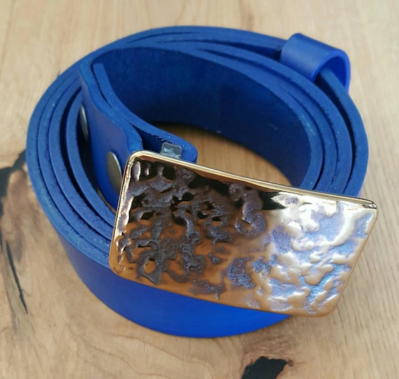 "Belt & Buckle SET - Blue Hand Dyed Suit Belt with Hand Forged Buckle ~ Hypoallergenic Accessories  ~  Groomsmen's Gifts ~ Fits 1.25"" Belt"