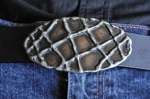 """Oval Belt Buckle ~ Stainless Steel Drizzle over Stainless Steel ~ Blue Jean Belt Buckle fits 1-1/2"""" Leather Belt for Jeans ~ Gift Bag Incl."""