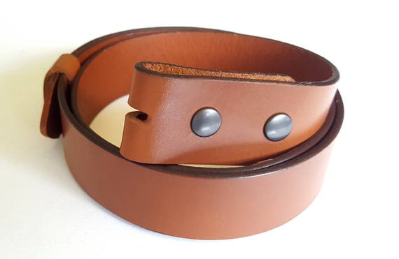 "Tan Belt ~ Hand Dyed Bridle Leather Belt with Snaps ~ Interchangeable Belt  Custom Cut  1-1/2"" Leather Belt for Jeans, Chinos or Dress Pants"