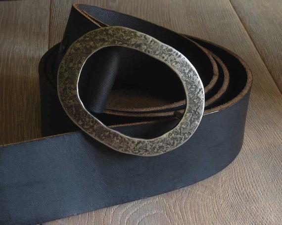 "2"" Leather Belt & Hand Forged Oval Belt Buckle SET,  Motorcycle Belt and Buckle, Kilt Belt, Custom Cut, Four Leather Belt Colours Avail."