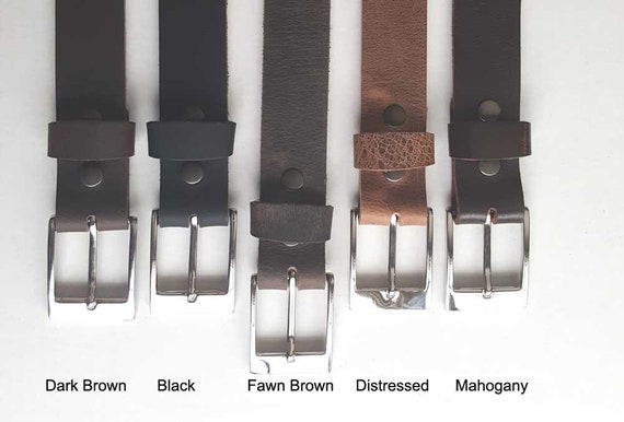"Fawn Brown Leather Belt & Buckle with Snaps, Belt Keeper Grooms Groomsmen's Gifts  1-1/2"" wide Belt for Jeans or 1-1/4"" wide Belt for Suits"