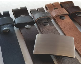 Gentlemen's Gift Set -  5 Belts & Buckle - Brushed Stainless Buckle and Five Leather Belts - Boxed Set - Cool Man Gift - Canadian Gift Idea
