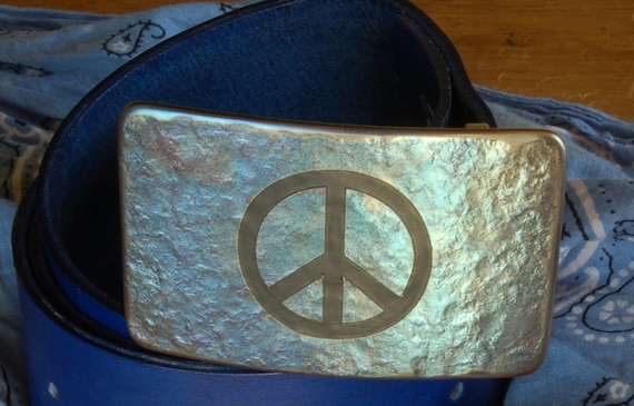 "PEACE Sign Belt & Buckle Hand Forged Hypoallergenic Buckle Signed Original Accessories fits 1.75"" Blue Hand Dyed Belt and Buckle Unisex Set"