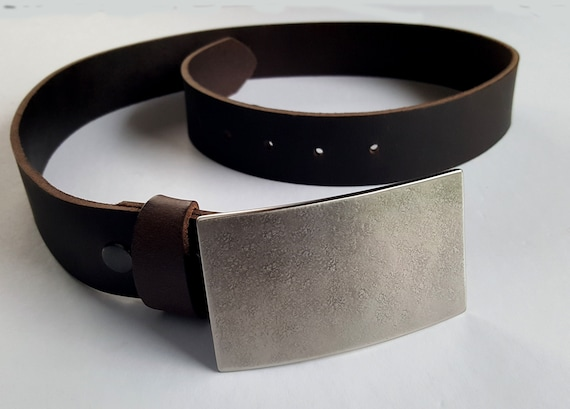 "Belt & Buckle - Hand Forged Stainless Steel and Leather - Groomsmen's Accessories - Gifts for Dad -  Belt Buckle and Leather 1-1/2"" Belt"